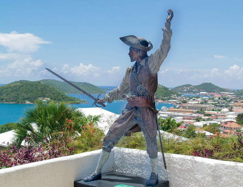 Black Bart, Captain Bartholomew Roberts a famous pirate with Caribbean sea and islands stock photography