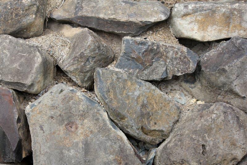 Black Basalt Stone Wall : Black basalt rock retaining wall stock image
