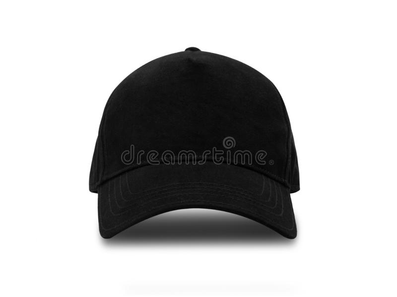Black baseball cap isolated on white background with clipping path. stock photos