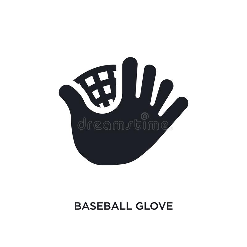 black baseball glove isolated vector icon. simple element illustration from sport concept vector icons. baseball glove editable stock illustration