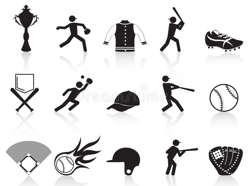 Download Black baseball icons set stock vector. Image of baseball - 24113907