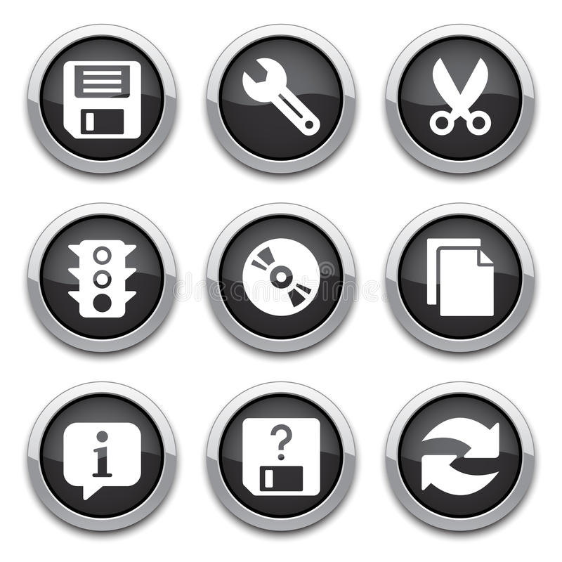 Download Black Basic Application Buttons Royalty Free Stock Images - Image: 26248069