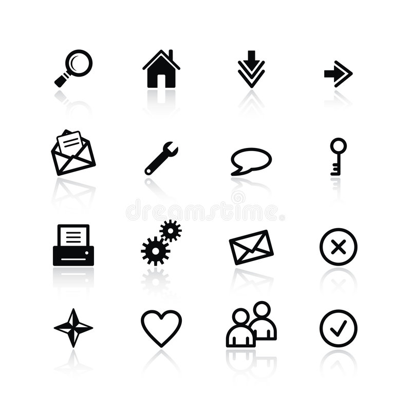 Black basic web icons stock illustration