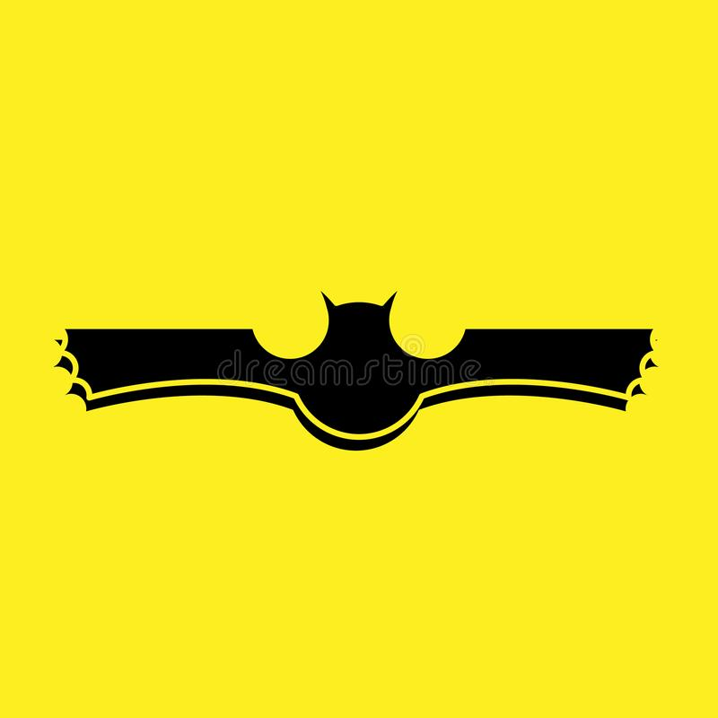 Black bat logo with yellow background vector stock illustration