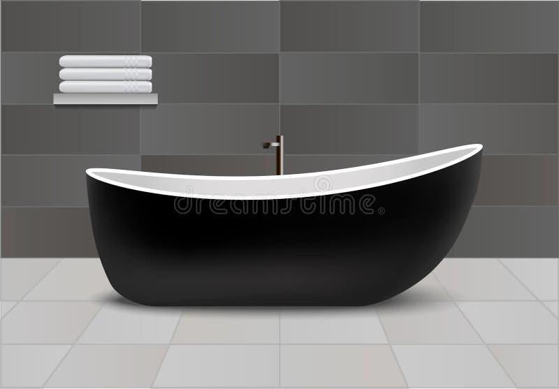 Black bathtub concept background, realistic style. Black bathtub concept background. Realistic illustration of black bathtub vector concept background for web stock illustration