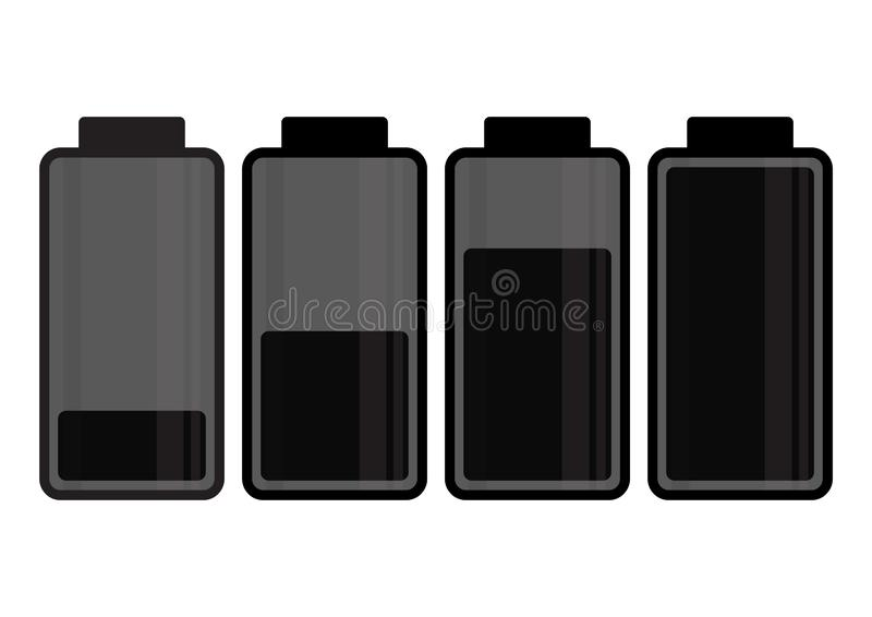 Black battery icon. Charge level. Vector. Illustration vector illustration