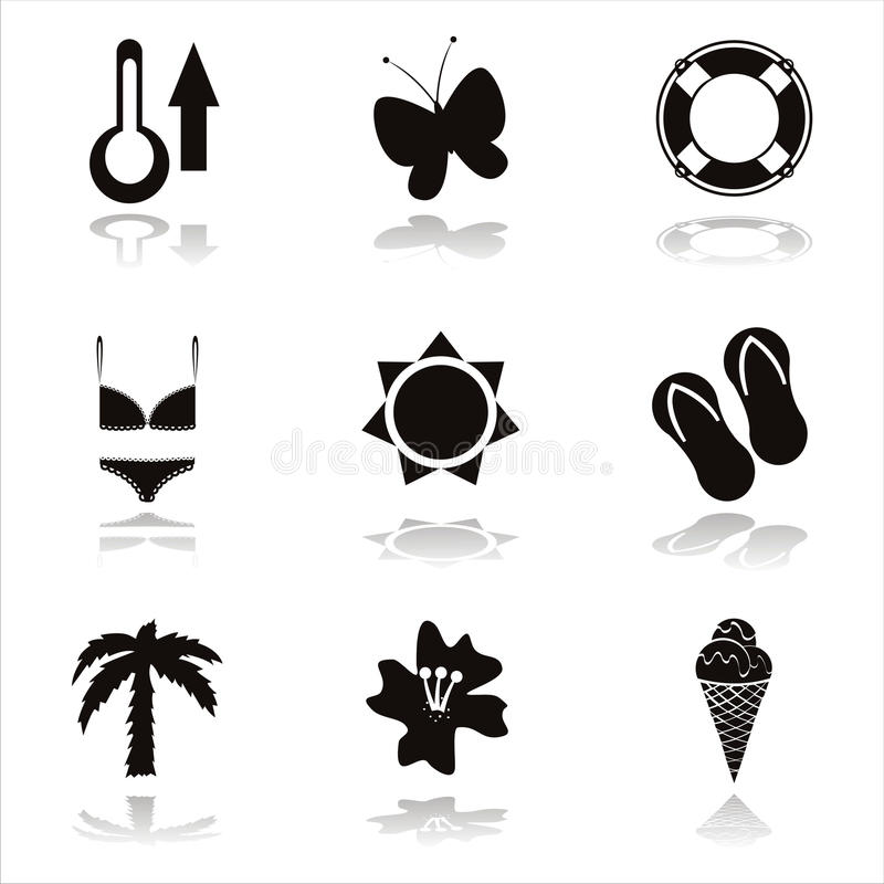 Download Black beach icons stock vector. Illustration of cute - 19551705