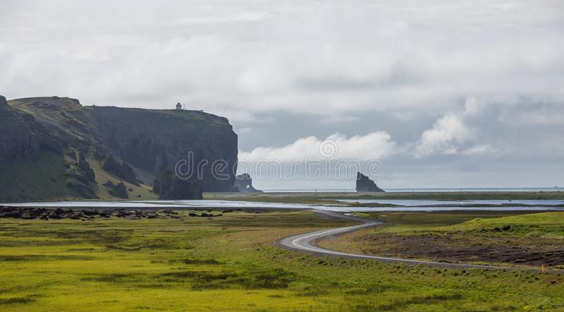 Black Beach, Vik, Iceland. The black sand beach of Reynisfjara in Iceland royalty free stock images