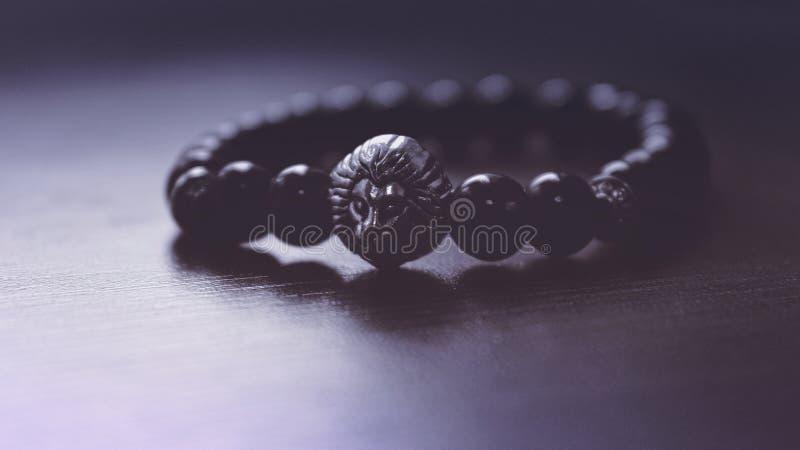 Black Beaded Lion Pendant Bracelet Free Public Domain Cc0 Image
