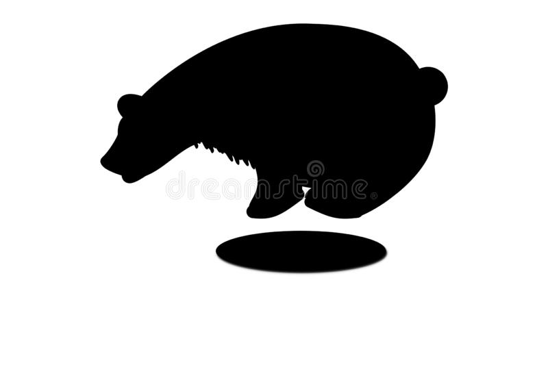 Black bear illustration silhouette logo on white background. Animal, big, sign, fear, dangerous, life, pet, mammals, single, cartoon, character, dark, sit, fur stock photo