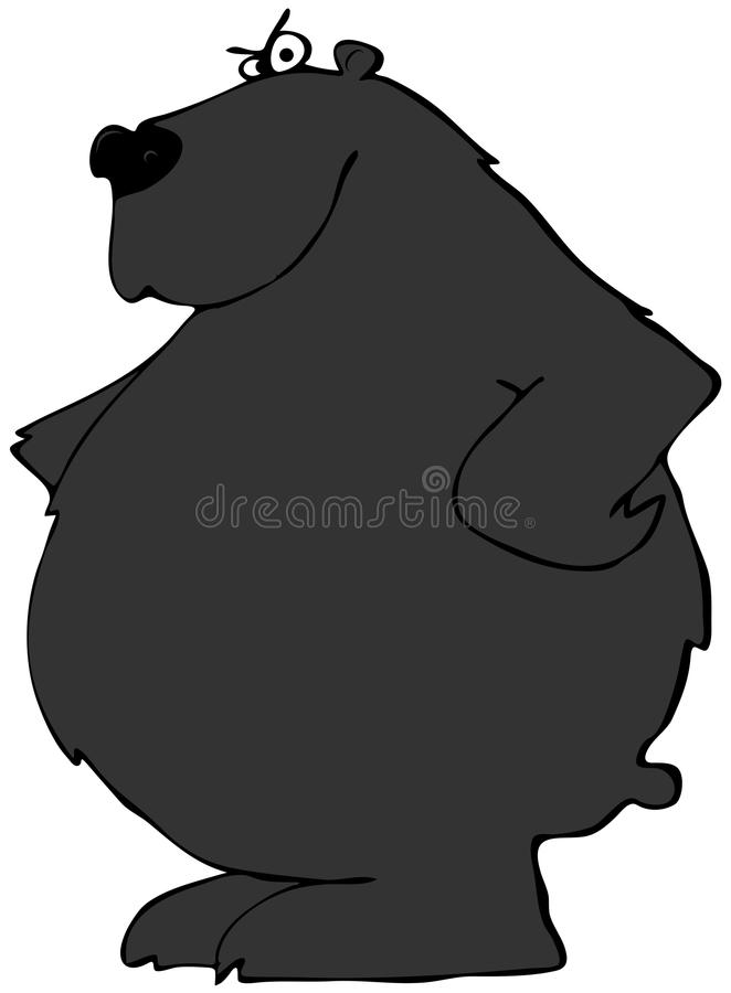 Black bear with paws on its hips