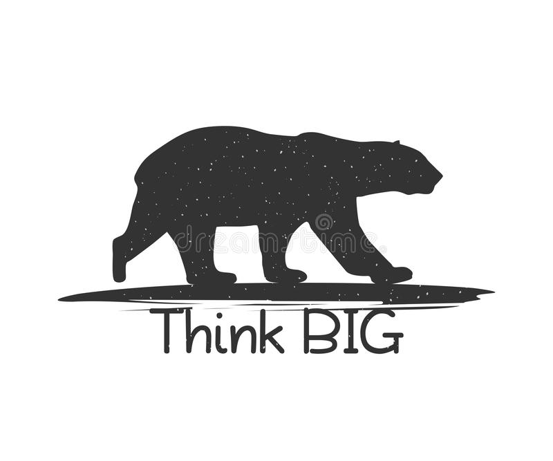 Black Bear with Quote Think Big. stock illustration