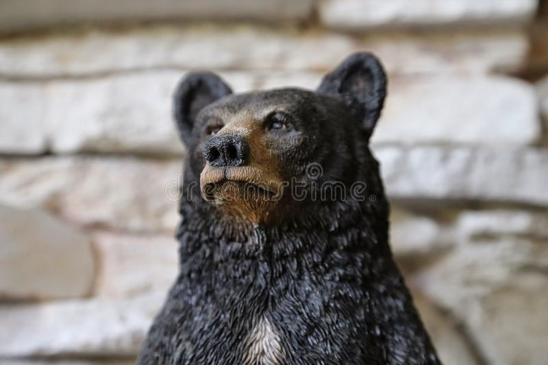 Black Bear Statue Portrait royalty free stock images