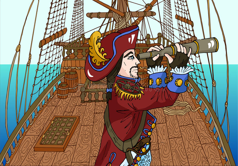 Black beard pirate captain on sailing ship deck royalty free illustration