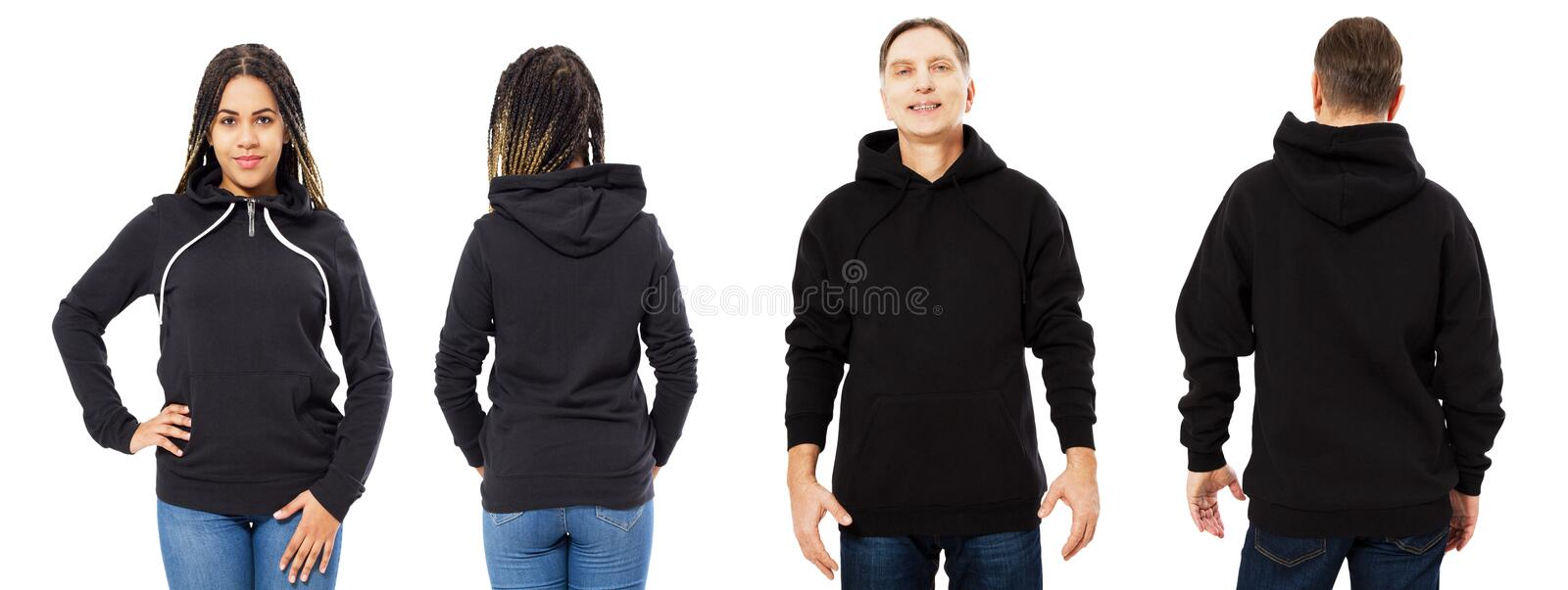 Black beautiful woman and middle-aged man in black hoodie mock up isolated over white background stock image