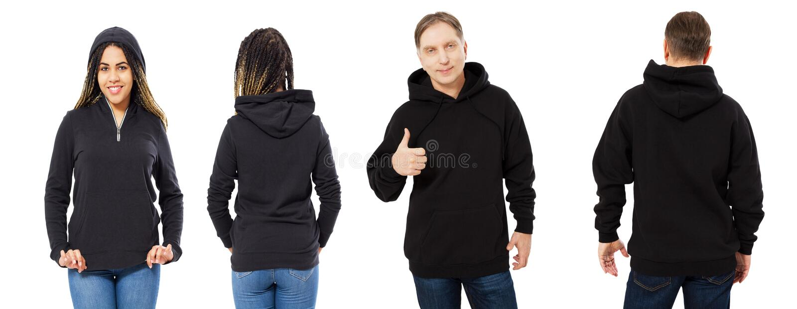 Black beautiful woman and middle-aged man in black hoodie mock up isolated on white background royalty free stock image