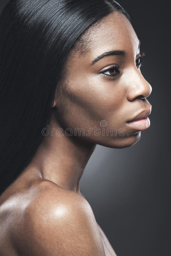Black beautiful woman with perfect skin royalty free stock photos