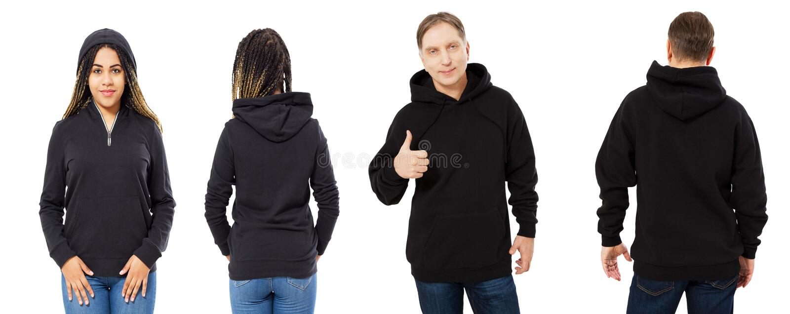 Black beautiful woman and middle-aged man in black hoodie mock up isolated over white background royalty free stock photo