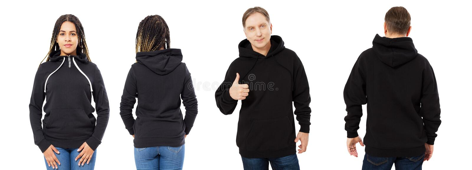 Black beautiful woman and middle-aged man in black hoodie mock up isolated over white background stock photography