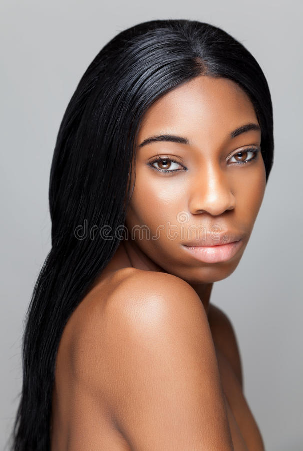 Black beauty with perfect skin royalty free stock photos