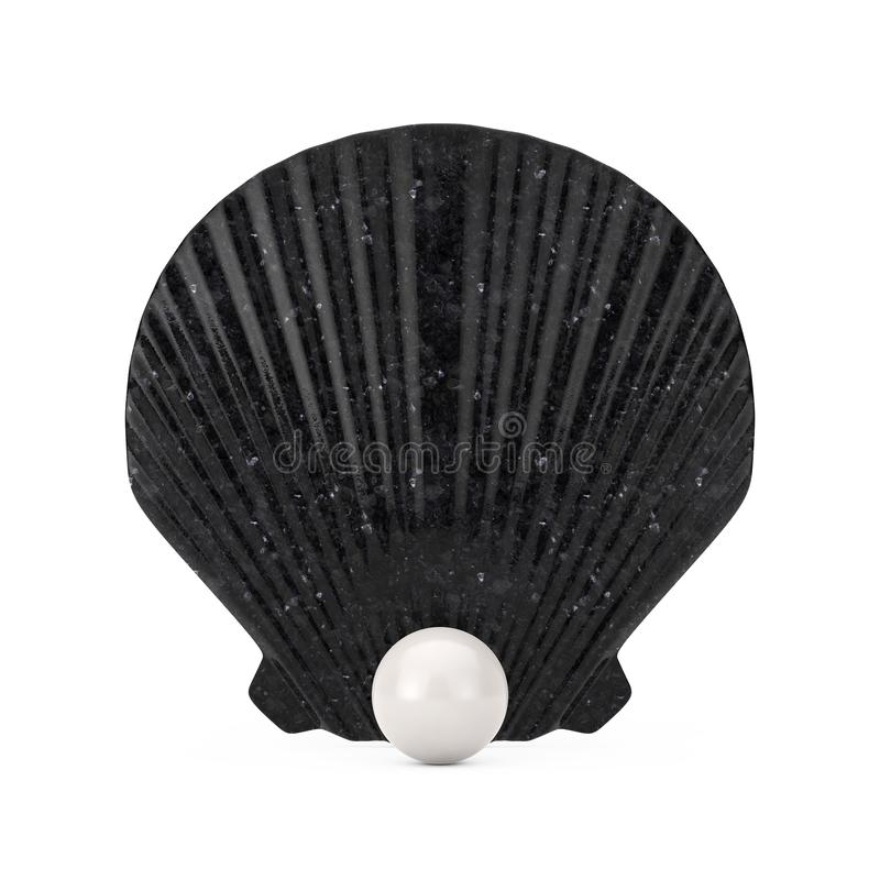 Black Beauty Scallop Sea or Ocean Shell Seashell with White Pearl. 3d Rendering vector illustration