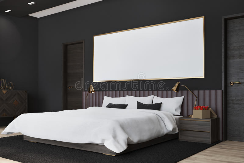 Black bedroom with a poster, side view vector illustration
