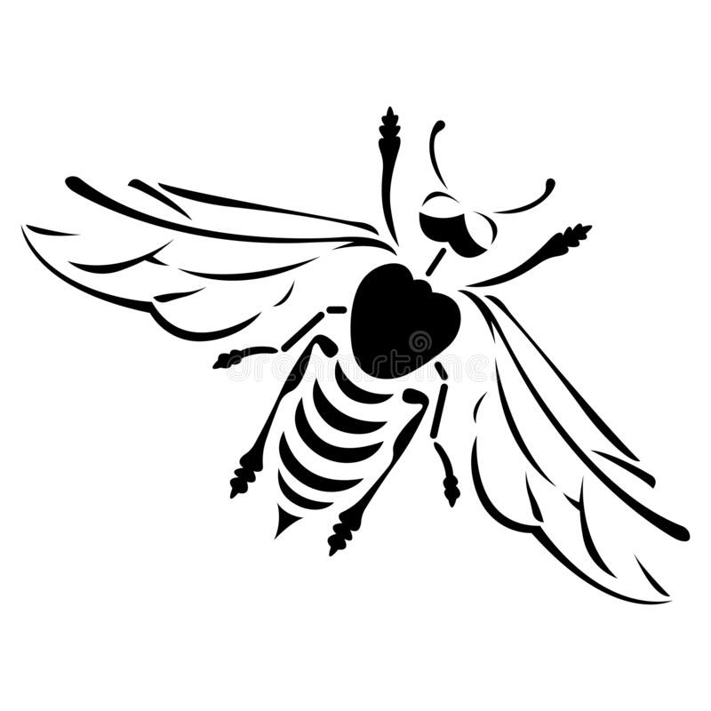 Free Black Bee Drawn In Various Lines. Design Suitable For Company Logo Stock Photos - 188993073