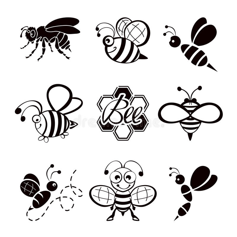 Black bee icons vector illustration