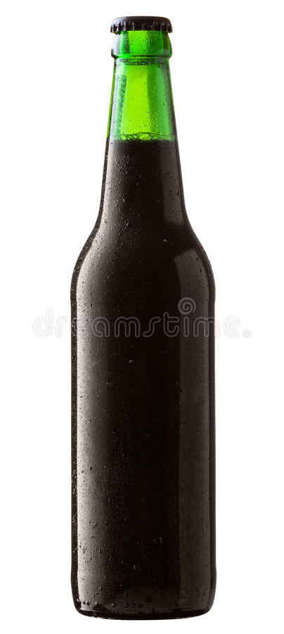 Black beer. Bottle of black beer with drops on white background. Clipping Path stock image