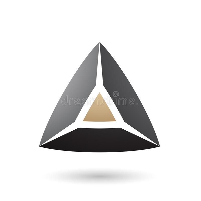 Black and Beige 3d Pyramidical Shape Vector Illustration vector illustration