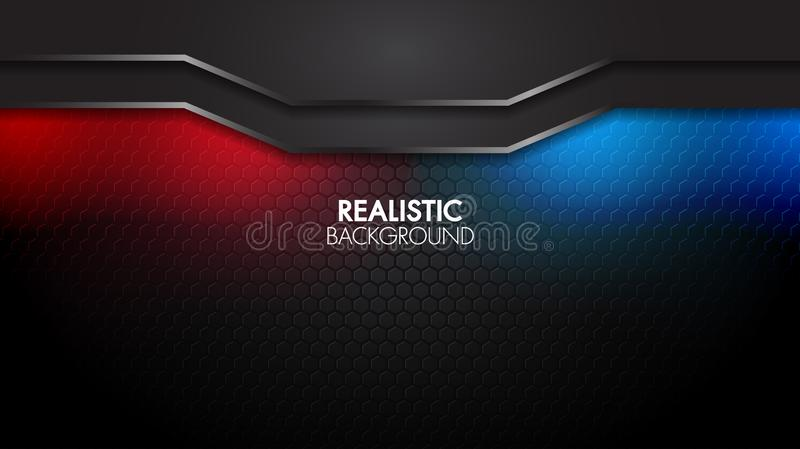 Black abstract mat geometric background elegant futuristic glossy red and blue light with grid line.Modern shape concept. stock illustration