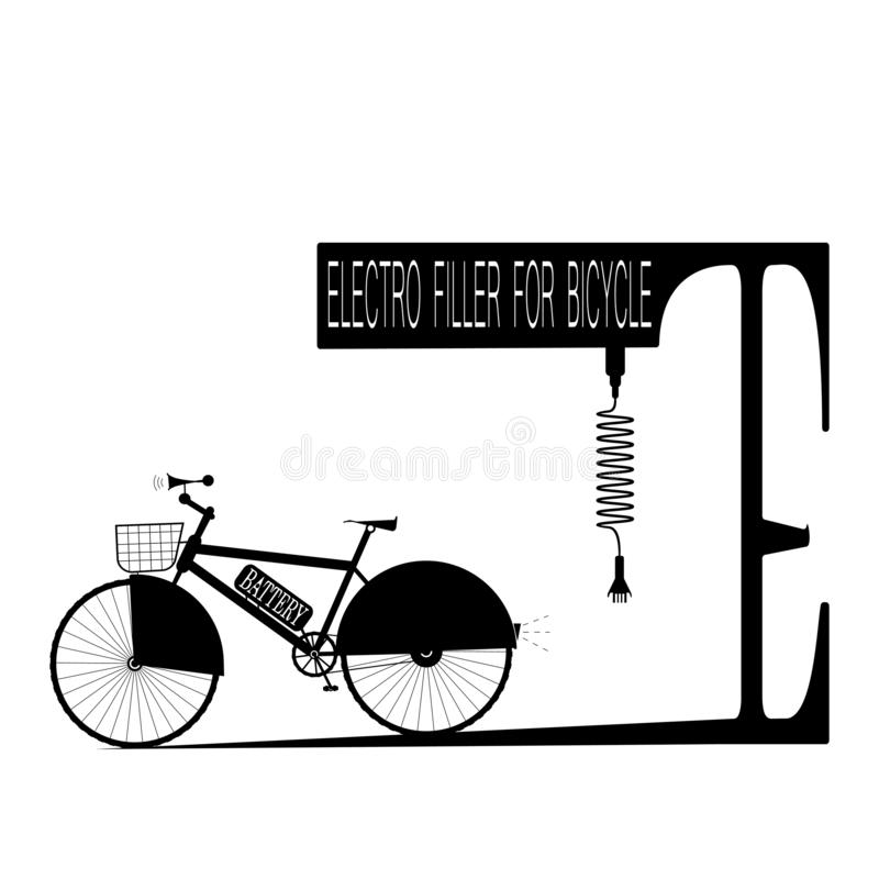 Black bicycle with battery and electro-filler like parking with inscription - vector illustration royalty free illustration