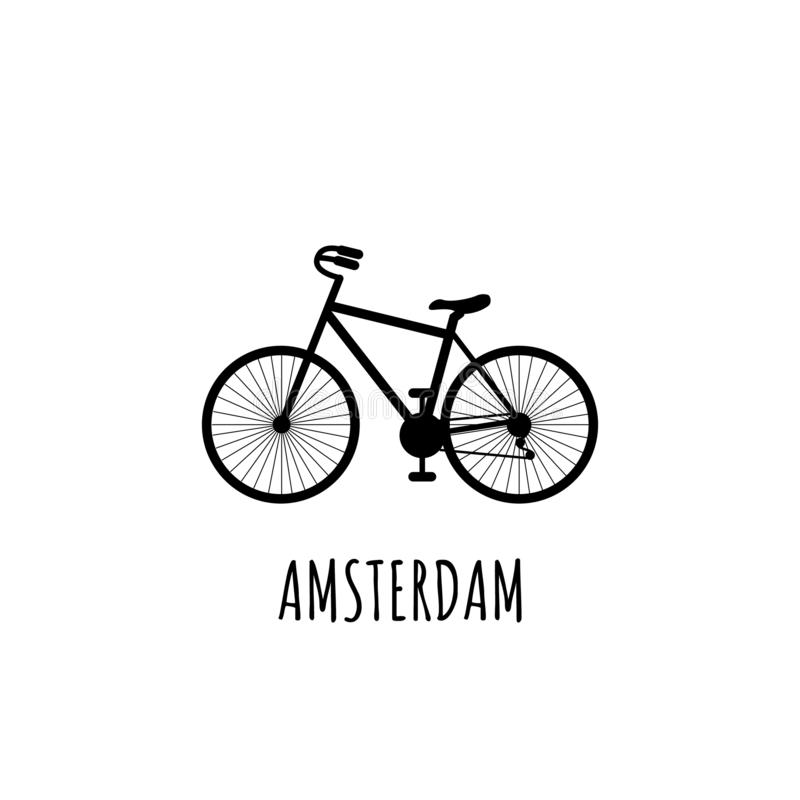 Black silhouette Bicycle with inscription Amsterdam. Most common transport in Amsterdam. Can be used for postcards and tourist. Black Bicycle with inscription royalty free illustration