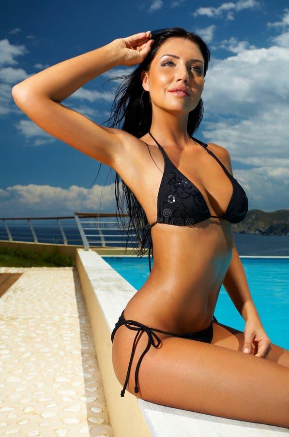 Free Black Bikini Girl Royalty Free Stock Image - 2495946