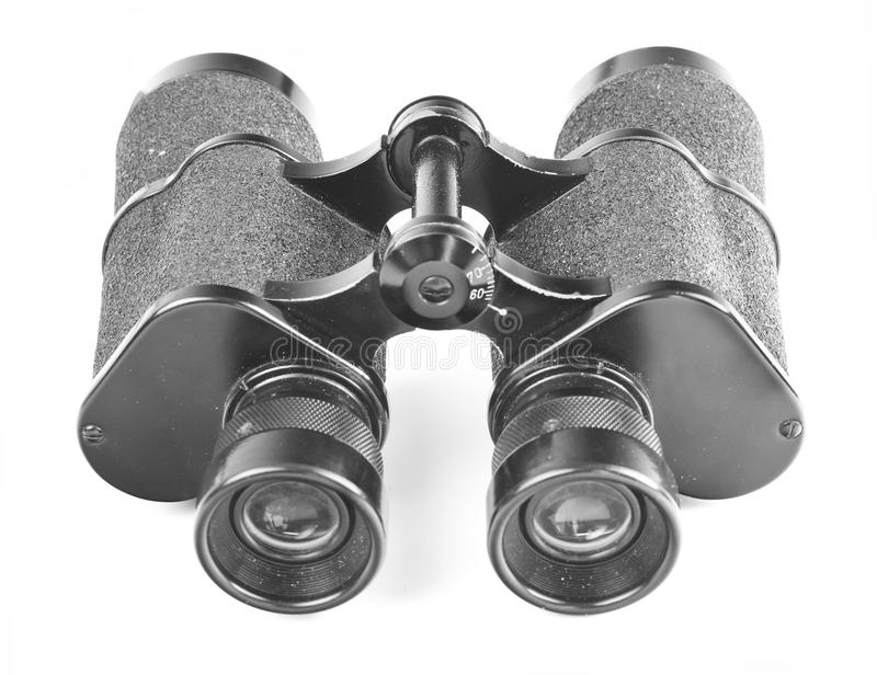Black binoculars on white stock image