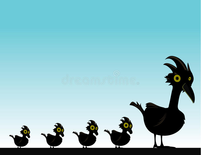 Black bird with baby birds vector illustration