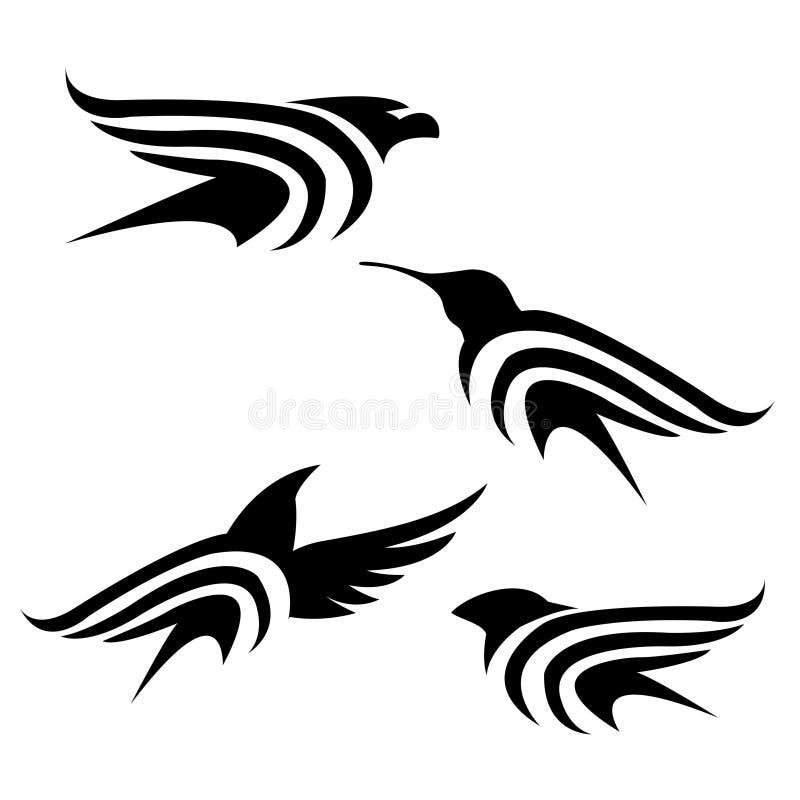 Black bird set royalty free stock photos
