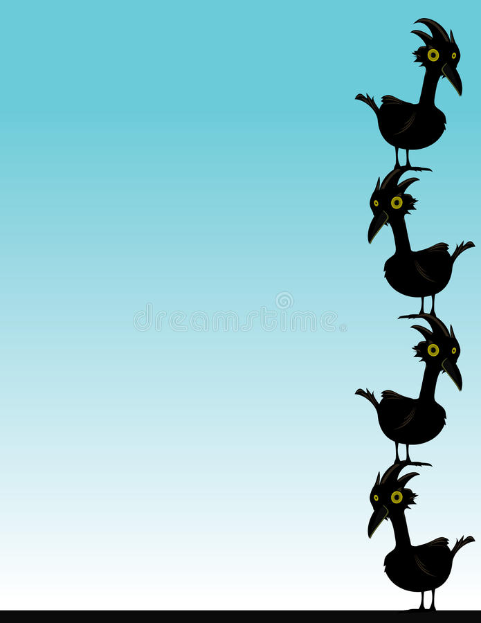 Black birds on blue background royalty free illustration