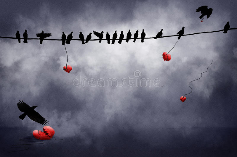 Black Birds with hearts. Black birds on a wire and flying carry red hearts with them. One lies on the ground broken vector illustration