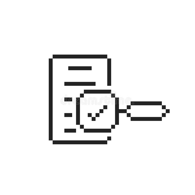 Black 8 bit assessment logo in pixel art vector illustration