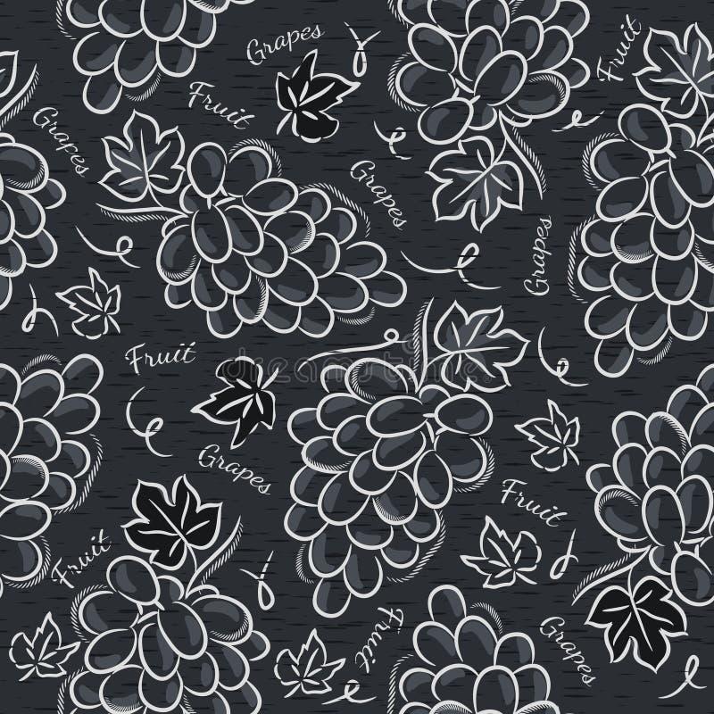 Black blackboard with grapes stock illustration