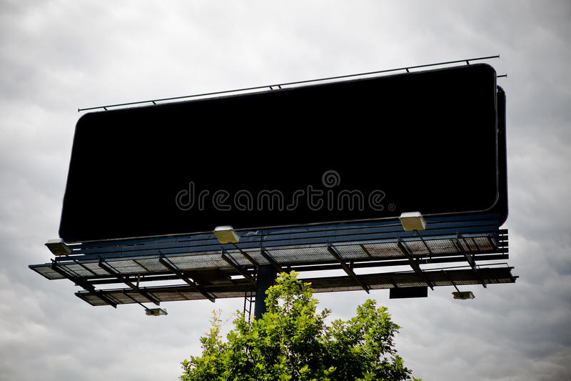Black blank advertising billboard stock image