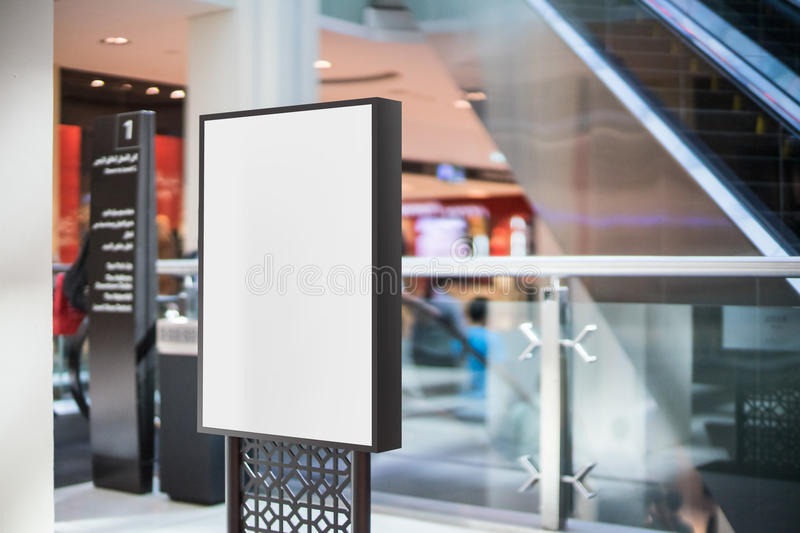 Black blank advertising stand in the mall stock photo
