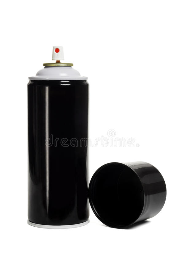 Black and blank aerosol can. On white background stock photo
