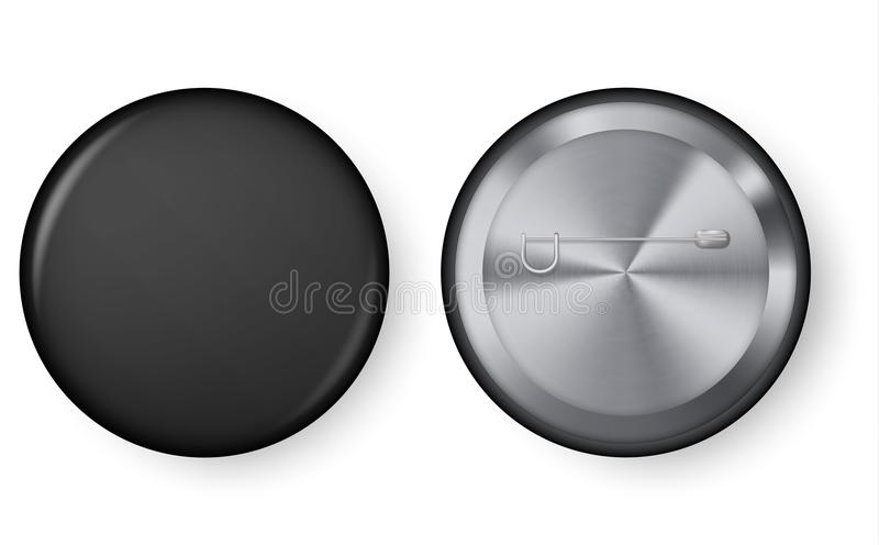 Black blank badge pin brooch isolated on white background. Collection of realistic pin buttons. Black blank badge pin brooch isolated on white background. 3D vector illustration