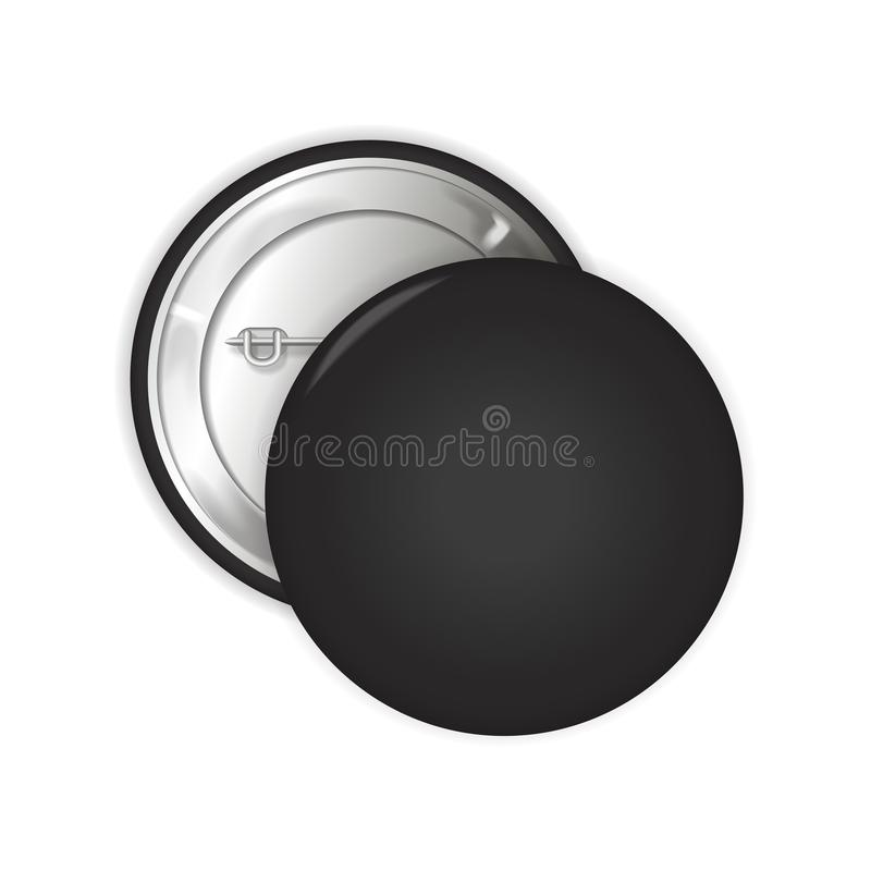 Black blank badge. Pin brooch mockup. 3d illustration. For your design royalty free illustration