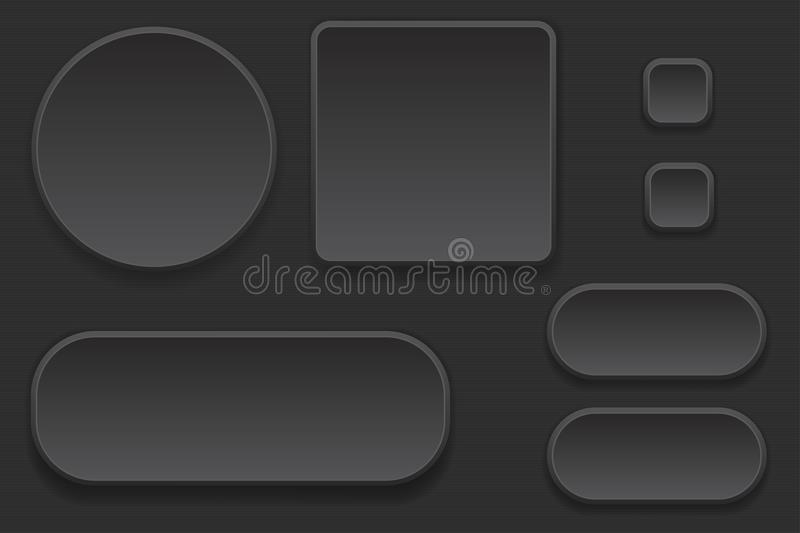 Black blank buttons. Set of interface elements. Vector 3d illustration stock illustration