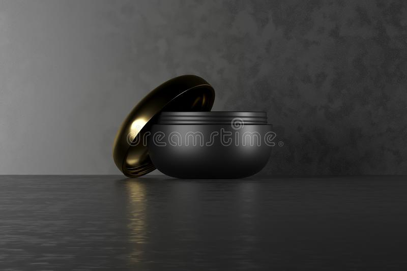 Black blank cream package on a dark background. 3d cosmetic make up cream. 3d rendering. Cosmetic cream container. Jar stock illustration