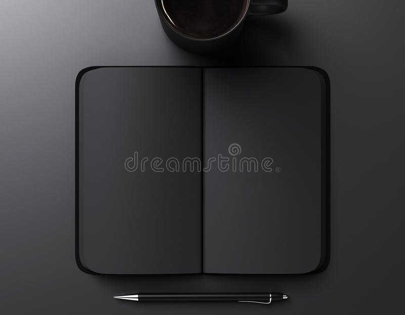 black blank notebook, pen and cup of coffee stock image
