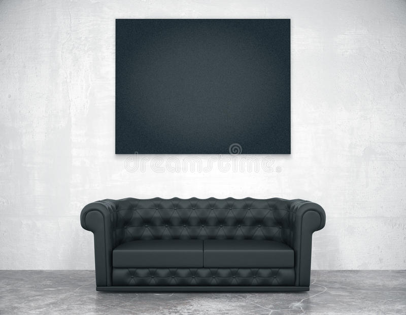 Black blank picture frame on the concrete wall and leather sofa, mock up vector illustration